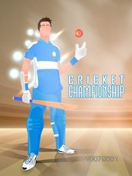Illustration of a Player holding bat and ball on night stadium light background for Cricket Championship concept.