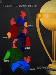 Creative illustration of different team players with golden trophy for Cricket Championship concept.