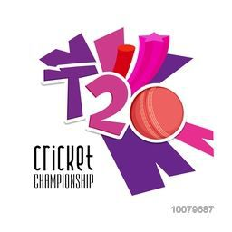 Stylish text T20 on abstract background for Cricket Championship concept.