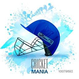 Batsman helmet in blue color on abstract background for Cricket Mania concept.