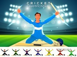 Illustration of a player holding wicket stumps on stadium lights background for Cricket Championship concept.