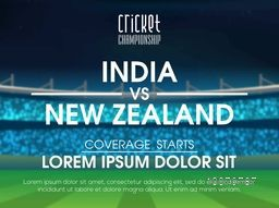 India VS New Zealand Cricket Match concept with view of a stadium.