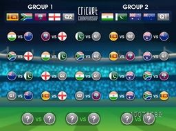 Creative Cricket Match Schedule layout with participant countries flags of group 1 and group 2 on stadium background.