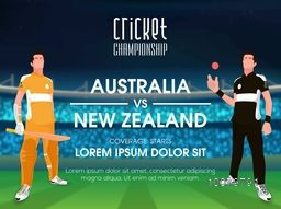 Australia VS New Zealand Cricket Match concept with illustration of players on stadium background.