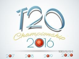 Stylish text T20 Championship 2016 for Cricket Sports concept.
