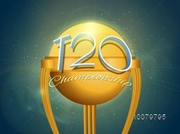 Stylish text T20 Championship on glossy golden trophy for Cricket Sports concept.