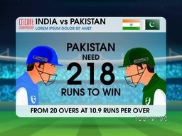 India VS Pakistan Cricket Match concept with illustration of players on stadium background.