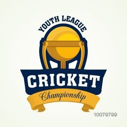 Golden Trophy for Youth League, Cricket Championship concept.
