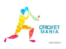 Creative colorful illustration of a Batsman ready to hit the shot on grey background for Cricket Mania concept.