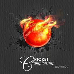 Glossy Red Ball in fire on stylish background for Cricket Championship concept.