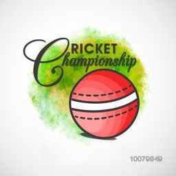 Creative ball on abstract background, can be used as poster, banner or flyer design for Cricket Championship concept.