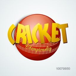 Stylish text Cricket Championship with glossy red ball on grey background.