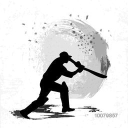 Silhouette of a Cricket Batsman ready to hit the shot on grey background.