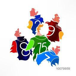 Creative illustration of different Team Players on grey background for Cricket Sports concept.