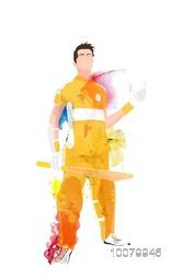 Creative illustration of a Player holding bat on grey background for Cricket Sports concept.