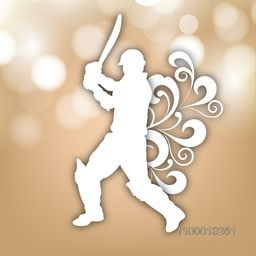 Creative white illustration of batsman ready to hit the shot for Cricket sports concept.