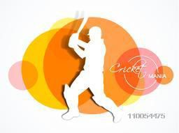 Cricket batsman in playing action with Cricket Mania text on abstract colorful circles background.