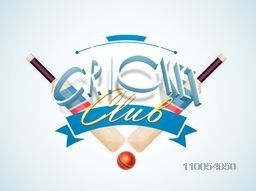 3D text Cricket Club with bats and ball on sky blue background.