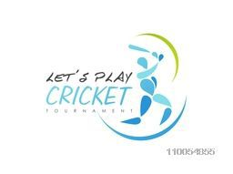 Cricket tournament concept with batsman in playing action on white background.