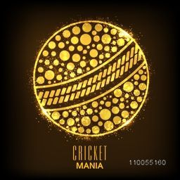 Shiny golden ball on brown background for Cricket Mania.