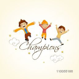 Illustration of cute happy kids and stylish text Champions on shiny background for Cricket Sports concept.