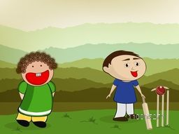 Cute little kids playing Cricket on nature view background.