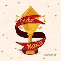 Golden winning trophy covered by red Cricket Mania ribbon for Sports concept.