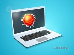Red cricket ball coming out from a shiny laptop screen on blue background.