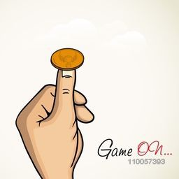 Human hand ready to toss the coin with stylish text Game On for Cricket.