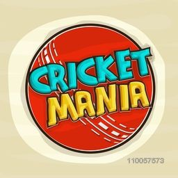 Stylish Text Cricket Mania on red ball, Can be used as Poster, Banner or Flyer design for Sports concept.