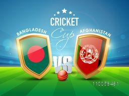 World Cup 2015, Bangladesh Vs Afghanistan Cricket match concept with their countries flag shield shining in stadium lights.