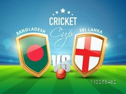Bangladesh Vs Sri Lanka, World Cup 2015 match concept with their countries flags on shield.