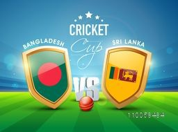 Bangladesh Vs Sri Lanka Cricket match concept with their countries flag on winning shield and ball on stadium background.