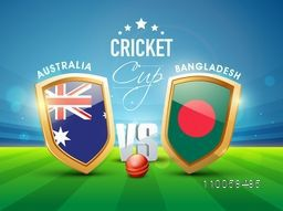 Australia Vs Bangladesh Cricket match concept with ball and winning shield shining in stadium lights.