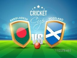 Bangladesh Vs Scotland, World Cup 2015 Cricket match concept with winning shield of their countries flags shining in stadium lights.
