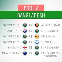 World Cup 2015 match schedule of Bangladesh playing against other countries.