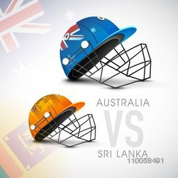 Australia Vs Sri Lanka, World Cup 2015 match concept with their countries flag helmet.