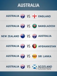 Australia, 2015 World Cup match schedule playing vs other countries.
