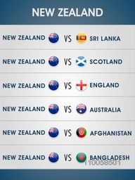 Cricket World Cup 2015, New Zealand match schedule versus other countries.