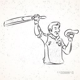Black and white illustration of Cricket Batsman expressing his win.