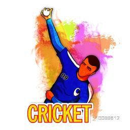 Cricket Bowler ready to throw the ball on abstract colorful background.