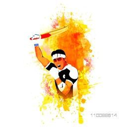 Aggressive Cricket Batsman expressing his win on abstract splash background.