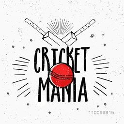 Stylish Text Cricket Mania with bats and ball, Can be used as Poster, Banner or Flyer design for Sports concept.