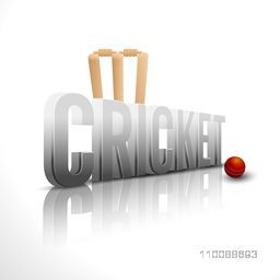 Creative 3D Text Cricket with red ball and wicket stumps for Sports concept.