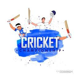 Illustration of Cricketers expressing their emotions in different poses for Cricket Championship Concept.