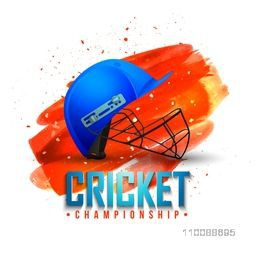 Batsman Helmet on abstract brush stroke background for Cricket Championship concept.