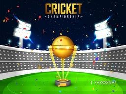 Glowing Golden Trophy on night stadium background for Cricket Championship Concept.