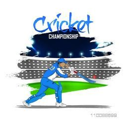 Abstract Sports background with Batsman hitting the shot for Cricket Championship concept.