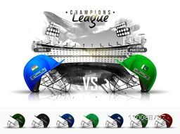 Sports stadium background with illustration of Participating Countries Batsman Helmets for Cricket Champions League.