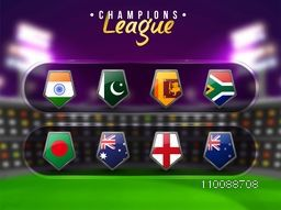 Blurred night stadium background with Participating Countries Flag Shields for Cricket Champions League.